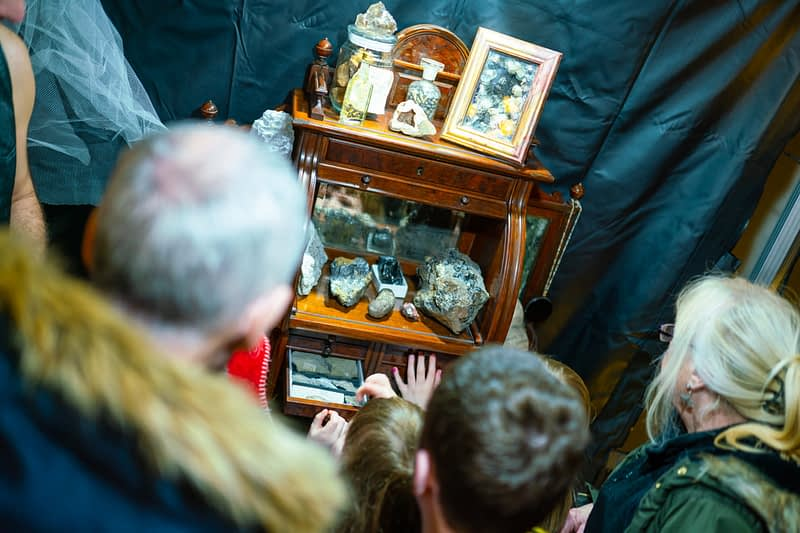 A Victorian era dentists cabinet filled with rocks, minerals and fossils makes for a point of interest for kids and adults as part of The Greatest Show Unearthed